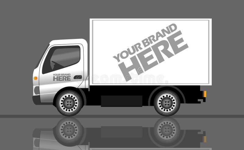 Plata del vector de Digitaces y vehículo realista blanco stock de ilustración