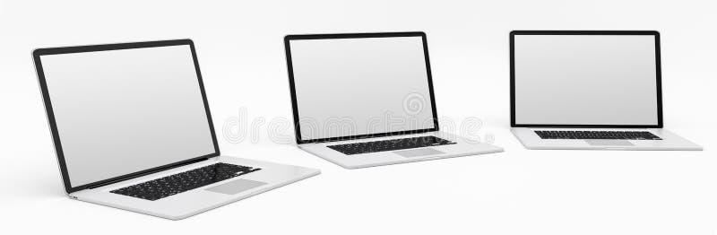 Plata digital moderna triple y representación negra del ordenador portátil 3D stock de ilustración