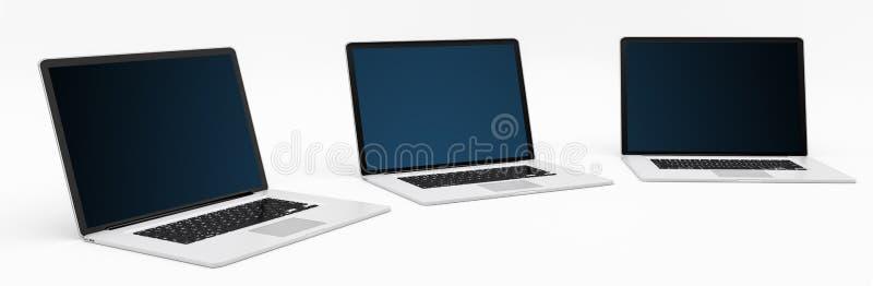 Plata digital moderna triple y representación negra del ordenador portátil 3D ilustración del vector