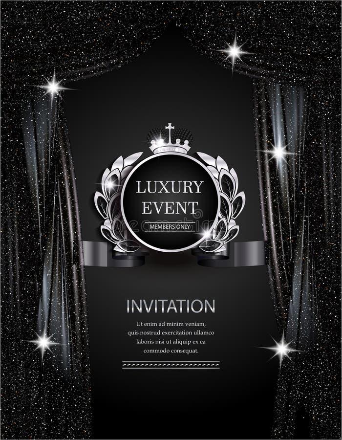 Plata elegante del evento de lujo y fondo negro con las cortinas chispeantes del teatro stock de ilustración