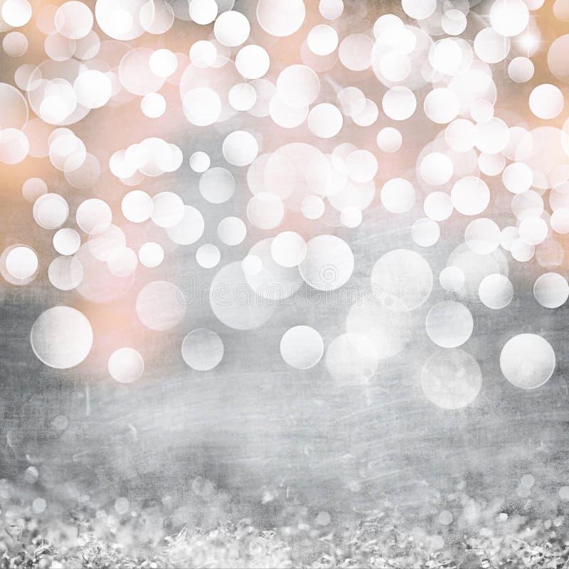 Plata elegante del Grunge, oro, vintage rosado de las luces de la Navidad fotos de archivo