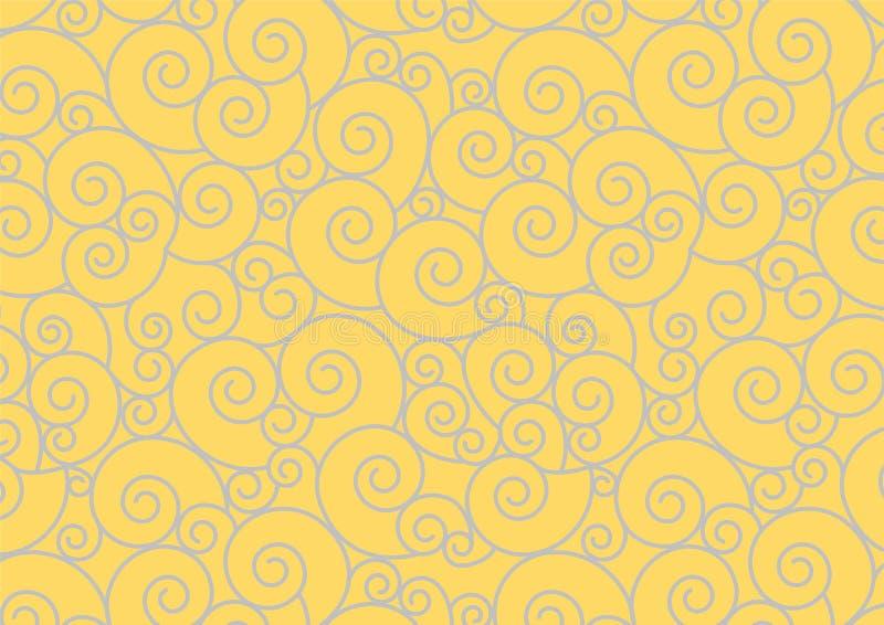 Plata espiral en fondo del oro ilustración del vector