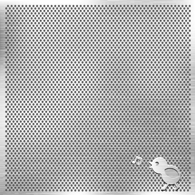 plata för musik för fågelgallermetall royaltyfri illustrationer