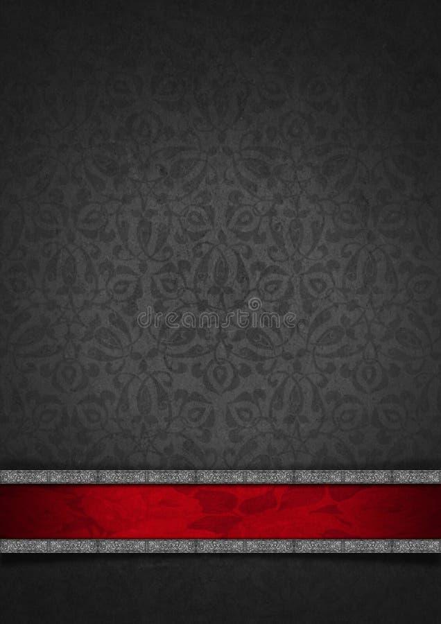 Plata floral de lujo y fondo rojo del terciopelo libre illustration