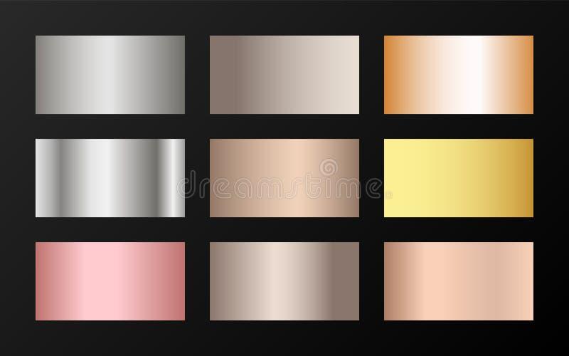 Plata met?lica de la textura de la hoja, acero, cromo, platino, cobre, bronce, aluminio, muestras color de rosa de la pendiente d ilustración del vector
