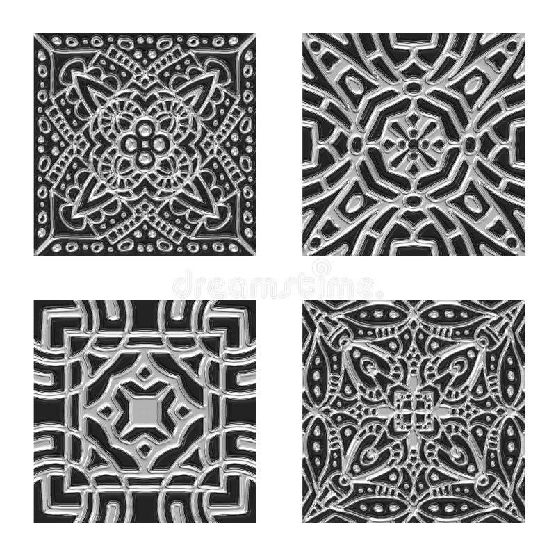 Plata ornamental y texturas negras del embaldosado ilustración del vector