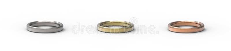 Plata, oro, anillos de cobre aislados en el fondo blanco 3d arrancan fotos de archivo libres de regalías