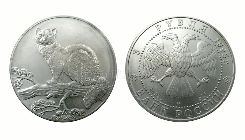 Plata rusa una moneda de la colección fotografía de archivo