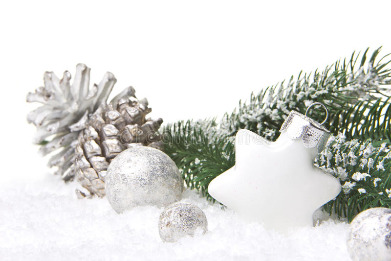 Plata y blanco de la decoración de la Navidad fotografía de archivo