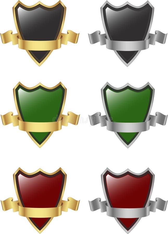 Plata y escudo y cinta del oro ilustración del vector