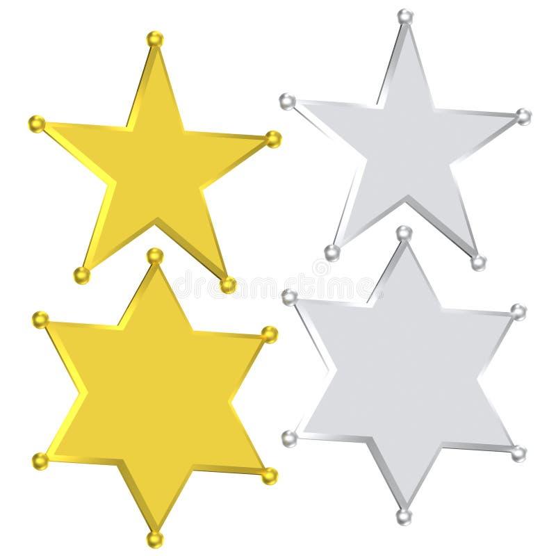 Plata y oro de la estrella de la insignia del sheriff ilustración del vector