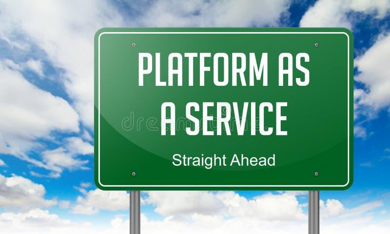 Plataforma como servicio en poste indicador verde de la carretera libre illustration