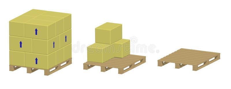 Plataforma con y sin las cajas ilustración del vector