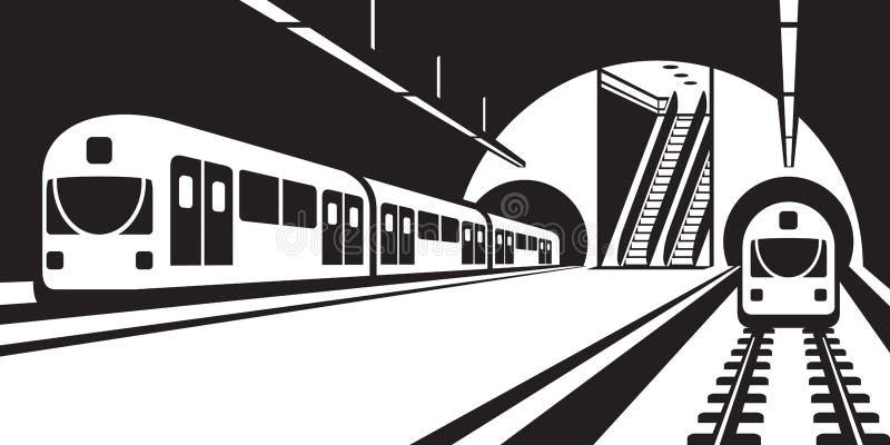 Plataforma da estação de metro com trens ilustração stock