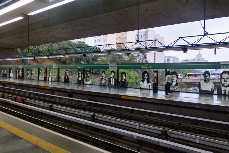 Plataforma da estação de metro de Sumare - Sao Paulo, Brasil imagem de stock royalty free