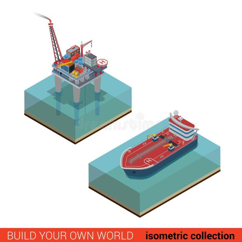 Plataforma da extração do óleo do mar com o vetor do petroleiro do heliporto isométrico ilustração royalty free