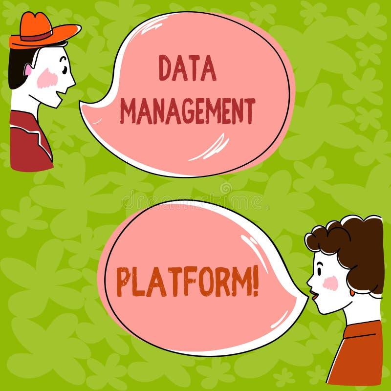 Plataforma da gestão de dados do texto da escrita Conceito que significa o tipo de plataforma centralizada da tecnologia que reco ilustração stock