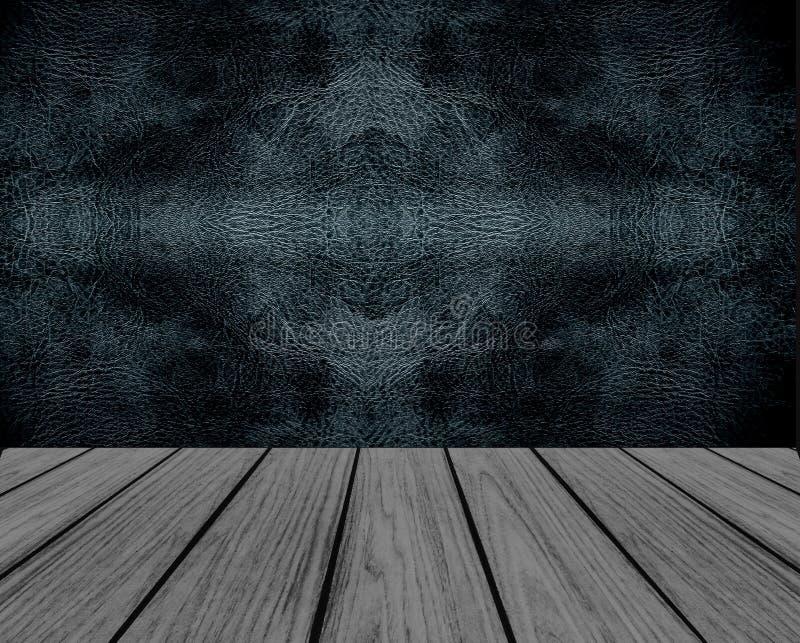 Plataforma de madeira vazia da perspectiva com textura sem emenda preta do fundo da parede do couro do teste padrão no interior d fotos de stock