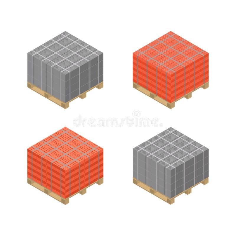 Plataforma de madera isométrica con los bloques de escoria y los ladrillos, ejemplo del vector stock de ilustración