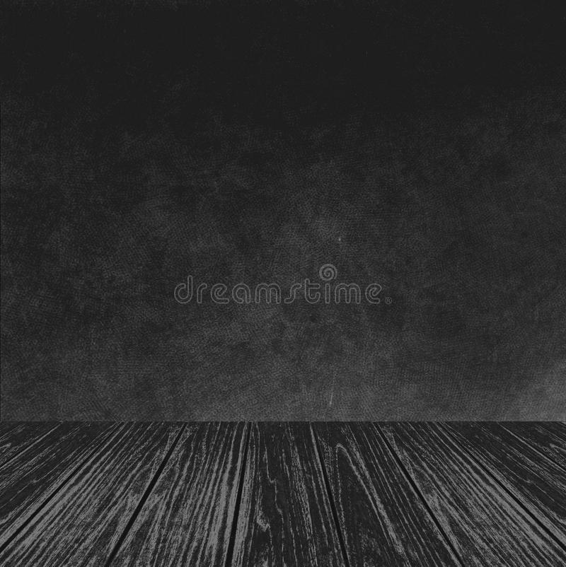 Plataforma de madera vacía de la perspectiva con la textura abstracta del fondo de la pared del negro del Grunge usada como plant foto de archivo libre de regalías