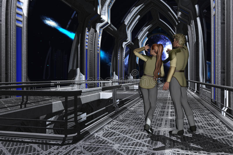 Plataforma de observación de Starship stock de ilustración