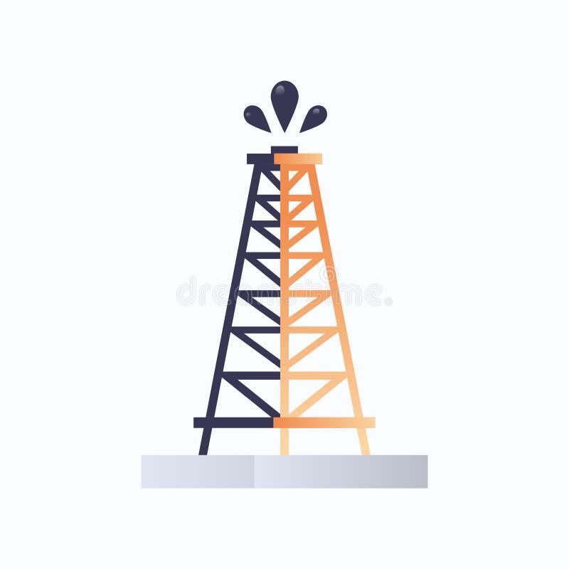 Plataforma de perforación de plataforma de carenado Icono concepto de industria de aceite de piso fondo blanco plano libre illustration