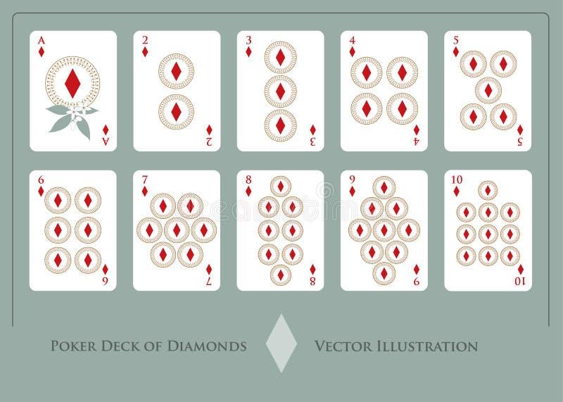 Plataforma dos diamantes de Ace a dez dos diamantes ilustração stock