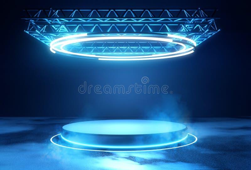 Plataforma futurista de la etapa con la iluminación stock de ilustración