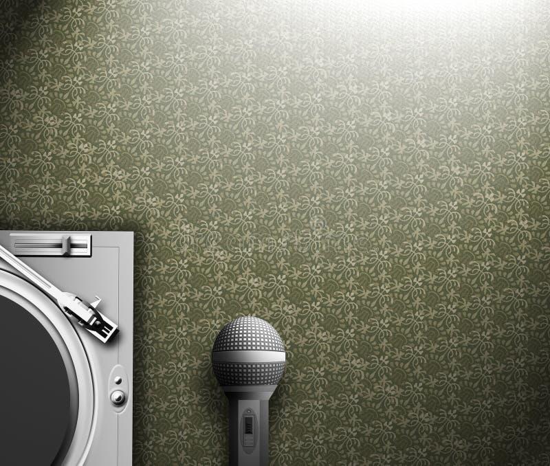 Plataforma giratória & microfone ilustração royalty free