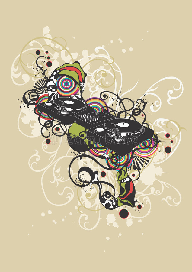 Plataforma giratória do DJ ilustração do vetor