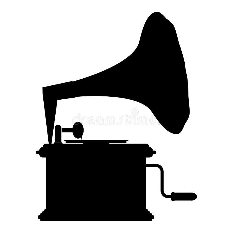 Plataforma giratória do vintage do gramofone do fonógrafo para a imagem lisa do estilo da ilustração do vetor da cor do preto do  ilustração stock