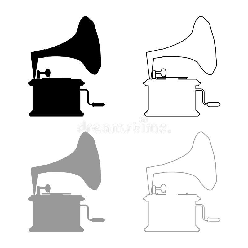 A plataforma giratória do vintage do gramofone do fonógrafo para o esboço do ícone dos registros de vinil ajustou a imagem lisa d ilustração do vetor