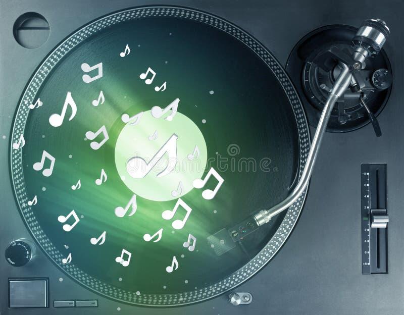 Plataforma giratória que joga a música com incandescência audio das notas ilustração do vetor