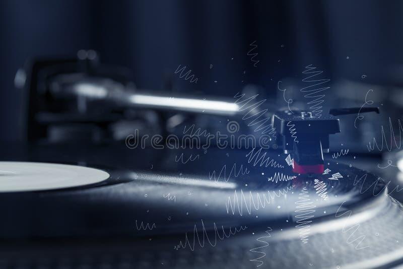 Plataforma giratória que joga a música com linhas transversais tiradas mão ilustração stock
