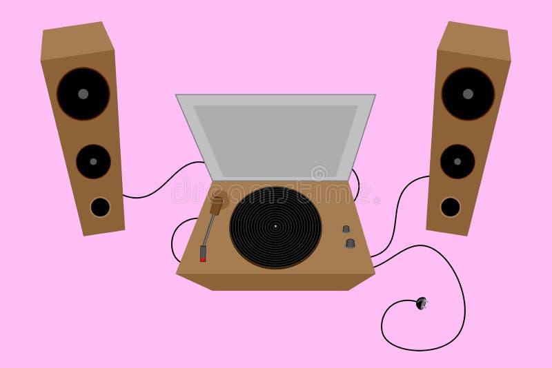Plataforma giratória velha Vinil retro loudspeakers Ilustração do vetor ilustração do vetor