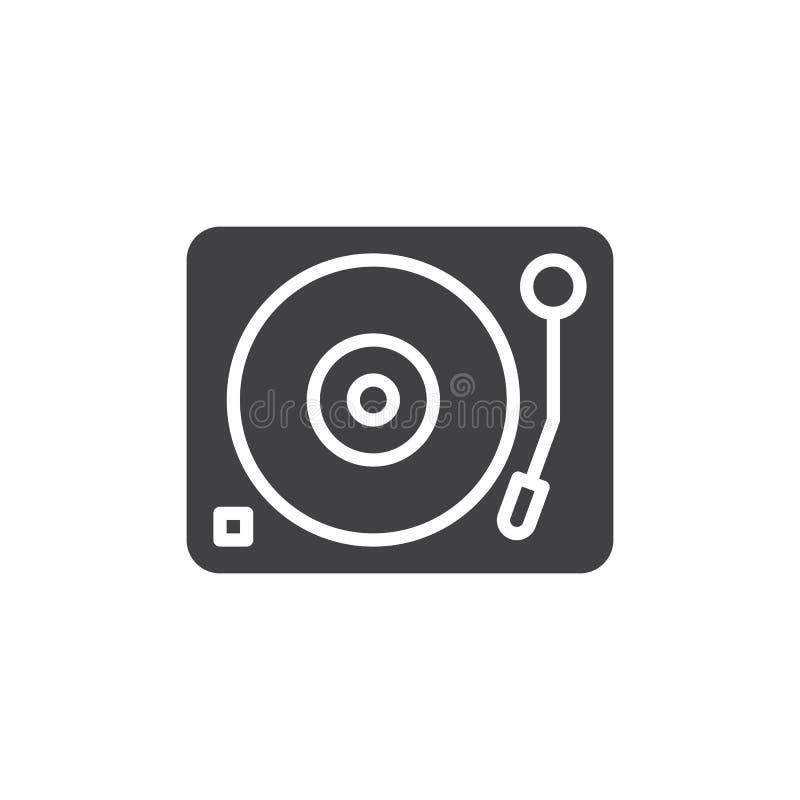 A plataforma giratória, vetor do ícone do jogador de disco do vinil, encheu o sinal liso, pictograma contínuo isolado no branco ilustração royalty free