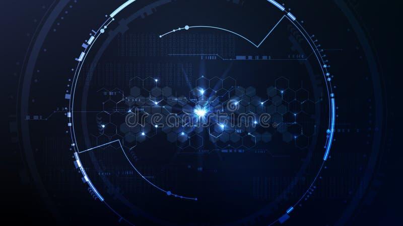 Plataforma hexagonal del interfaz del ciberespacio de la tecnología del extracto detrás libre illustration
