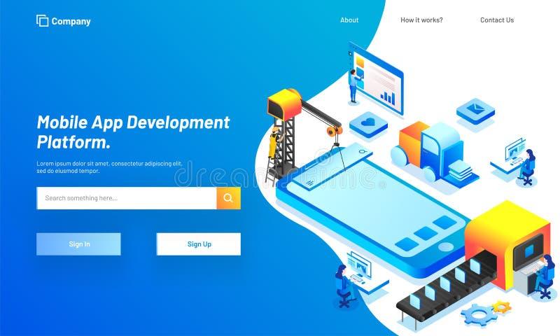 Plataforma móvel do desenvolvimento do App, ilustração isométrica de esperto ilustração royalty free