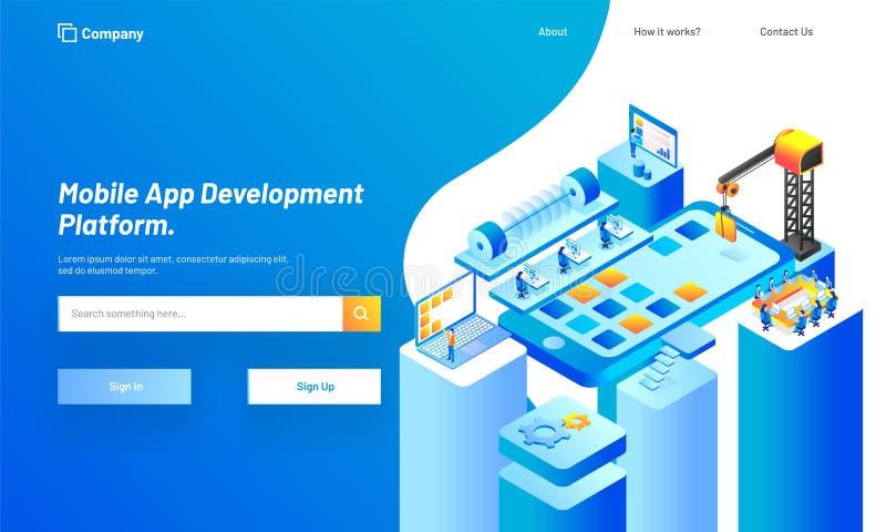 Plataforma móvel do desenvolvimento do App, ilustração isométrica de esperto ilustração do vetor