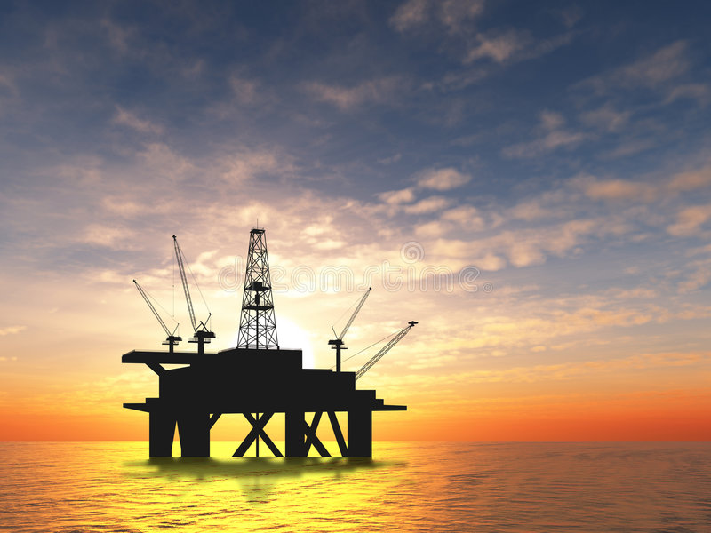 Plataforma petrolífera da silhueta fotos de stock royalty free