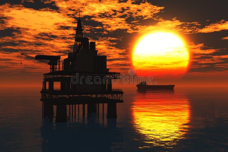 Plataforma petrolífera e petroleiro no rende do por do sol 3D do mar ilustração stock