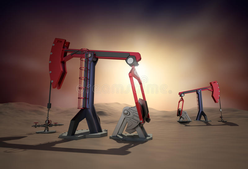 Plataforma petrolífera: Jaque da bomba no deserto. imagem 3d ilustração royalty free
