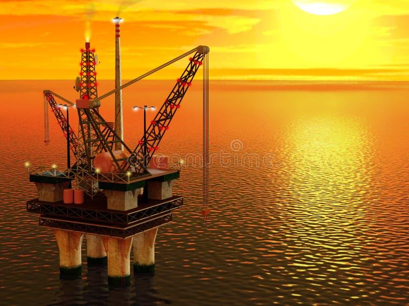 Plataforma petrolífera no mar ilustração stock