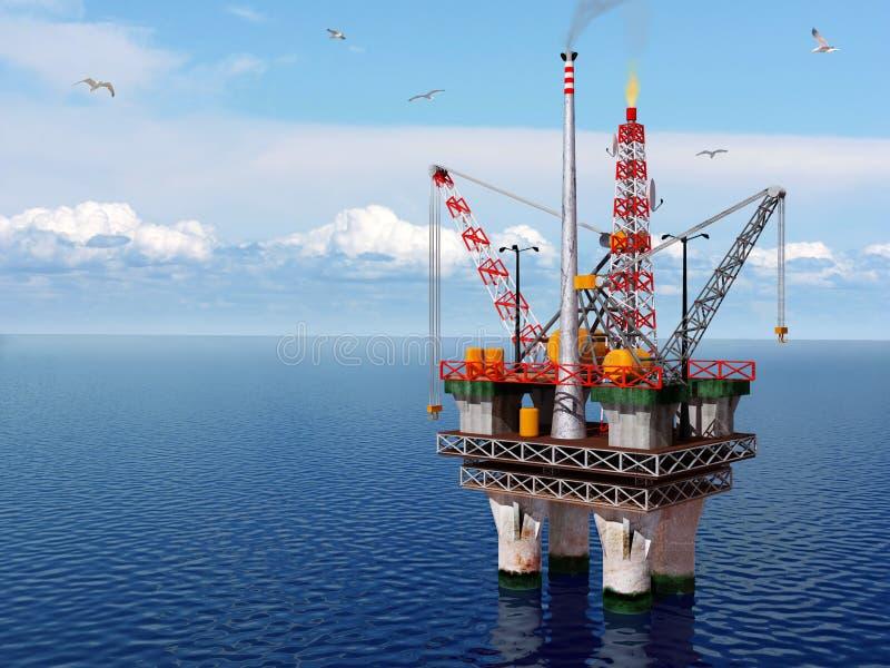 Plataforma petrolífera no mar ilustração royalty free