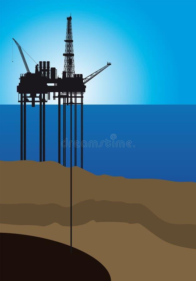 Plataforma petrolífera no mar,  ilustração do vetor