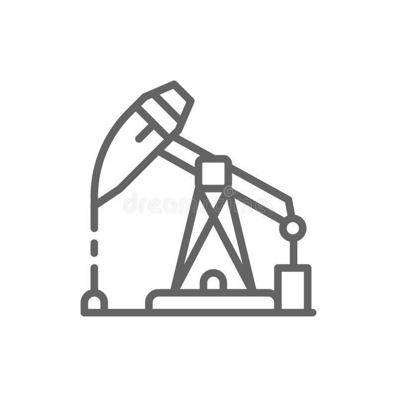 Plataforma petrol?fera, posto de gasolina, linha de jaque ?cone da bomba ilustração royalty free