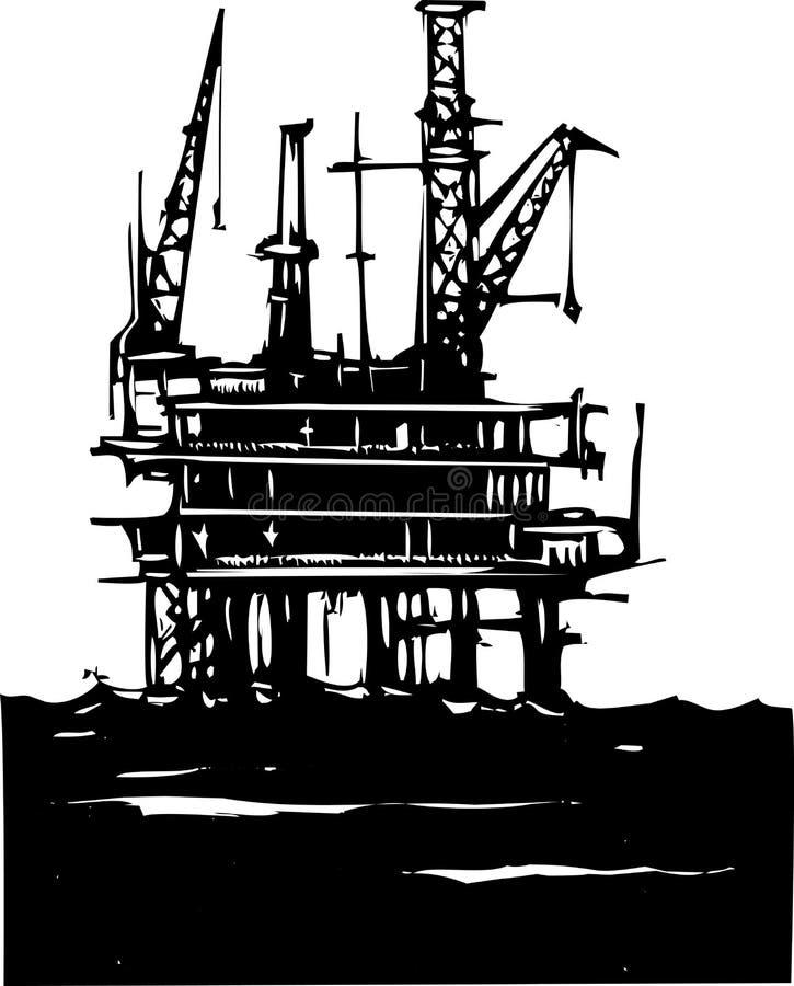 Plataforma petrolífera a pouca distância do mar ilustração stock