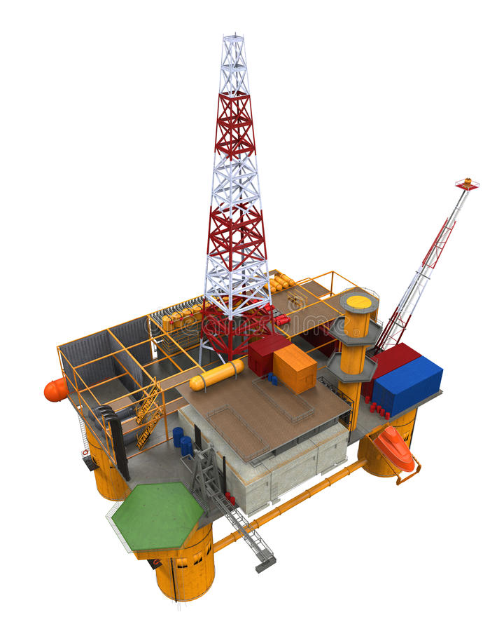 Plataforma petrolífera a pouca distância do mar de furo da plataforma fotografia de stock