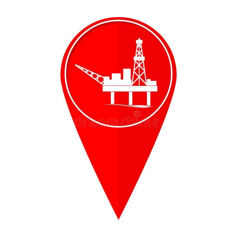 Plataforma petrolera del indicador del mapa ilustración del vector