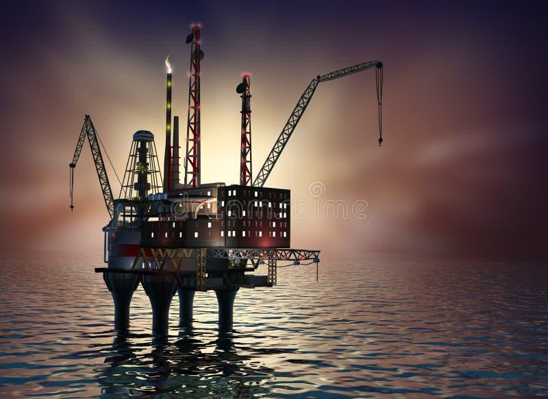 Plataforma a pouca distância do mar de furo no mar da noite. imagem 3D. ilustração royalty free